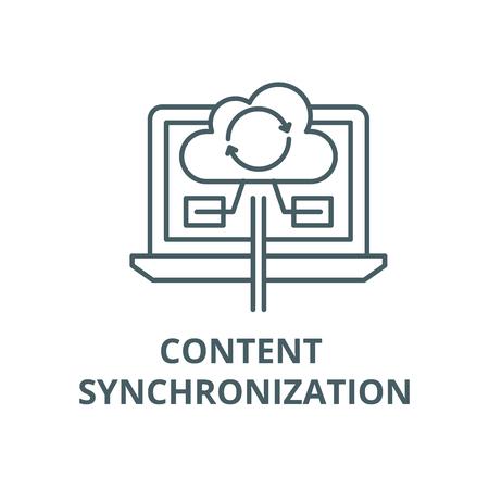 Content synchronization line icon, vector. Content synchronization outline sign, concept symbol, illustration