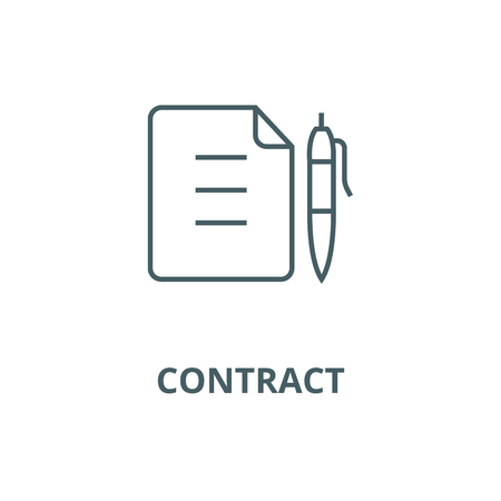 Contract,document file with pen line icon, vector. Contract,document file with pen outline sign, concept symbol, illustration Çizim