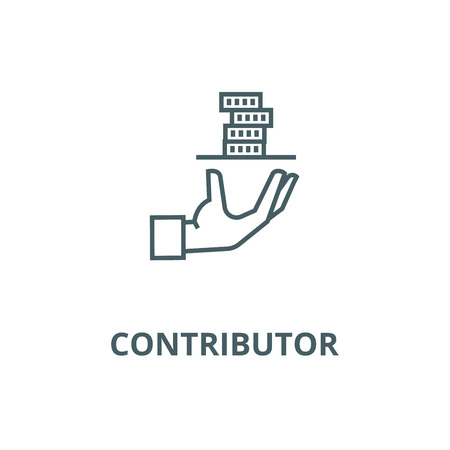 Contributor,service hand with money line icon, vector. Contributor,service hand with money outline sign, concept symbol, illustration Çizim