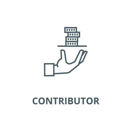 Contributor,service hand with money line icon, vector. Contributor,service hand with money outline sign, concept symbol, illustration Illustration