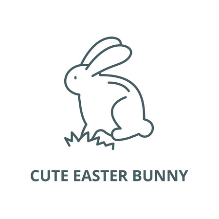 Cute easter bunny line icon, vector. Cute easter bunny outline sign, concept symbol, illustration  イラスト・ベクター素材