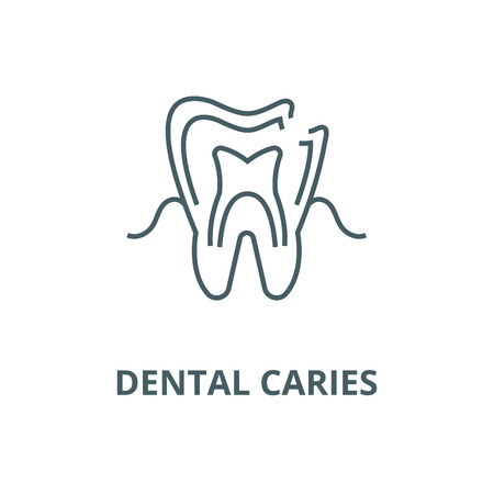 Dental caries line icon, vector. Dental caries outline sign, concept symbol, illustration Illusztráció