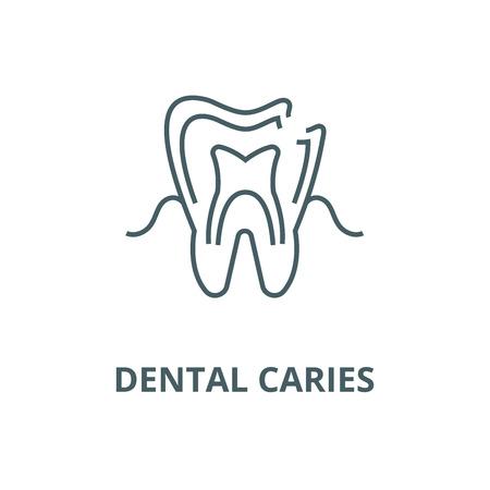 Dental caries line icon, vector. Dental caries outline sign, concept symbol, illustration  イラスト・ベクター素材