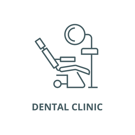 Dental clinic,dentists chair line icon, vector. Dental clinic,dentists chair outline sign, concept symbol, illustration Illustration