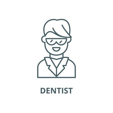 Dentist line icon, vector. Dentist outline sign, concept symbol, illustration