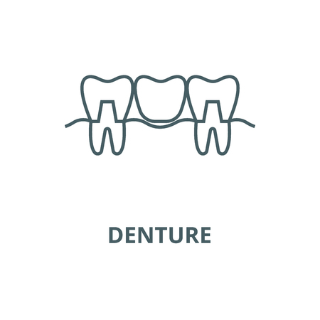 Denture line icon, vector. Denture outline sign, concept symbol, illustration Illustration