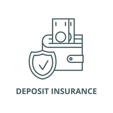 Deposit insurance line icon, vector. Deposit insurance outline sign, concept symbol, illustration