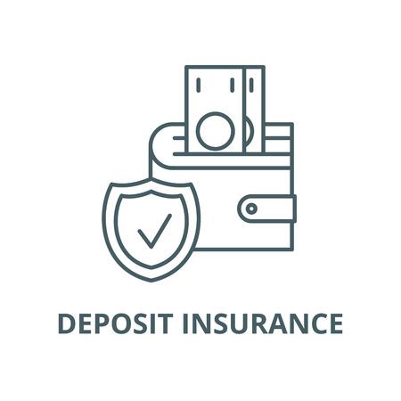 Deposit insurance line icon, vector. Deposit insurance outline sign, concept symbol, illustration