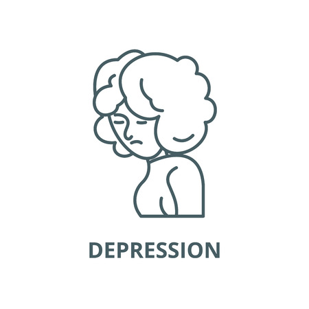 Depression line icon, vector. Depression outline sign, concept symbol, illustration Иллюстрация