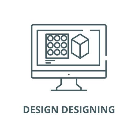 Design designing line icon, vector. Design designing outline sign, concept symbol, illustration