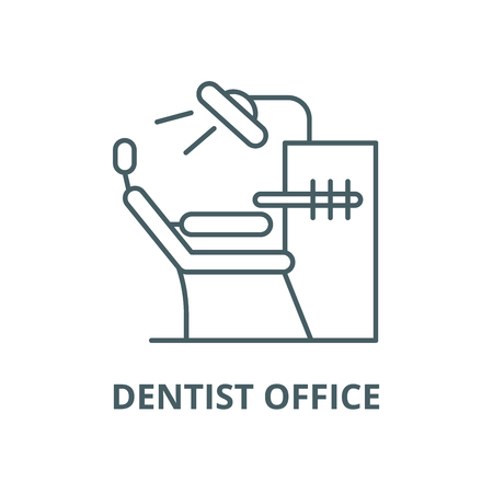 Dentist office line icon, vector. Dentist office outline sign, concept symbol, illustration Standard-Bild - 123716022