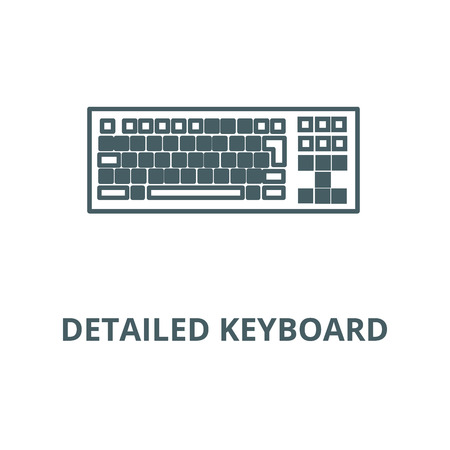 Detailed keyboard line icon, vector. Detailed keyboard outline sign, concept symbol, illustration