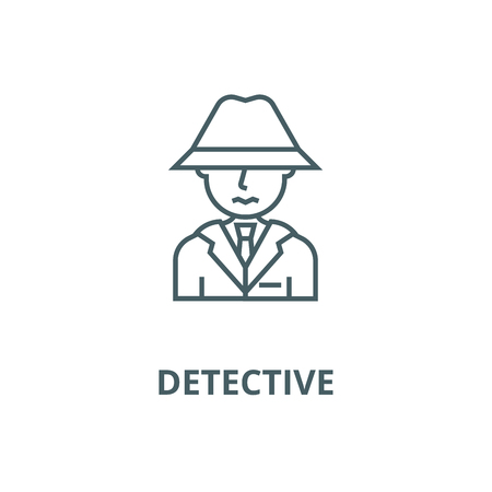 Detective, spy, man with hat line icon, vector. Detective, spy, man with hat outline sign, concept symbol, illustration