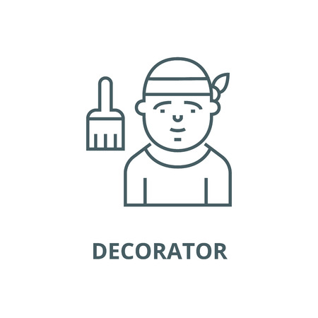 Decorator line icon, vector. Decorator outline sign, concept symbol, illustration Ilustrace