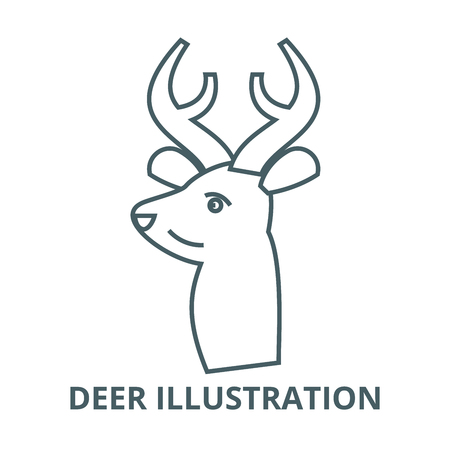 Deer illustration line icon, vector. Deer illustration outline sign, concept symbol, illustration Illustration