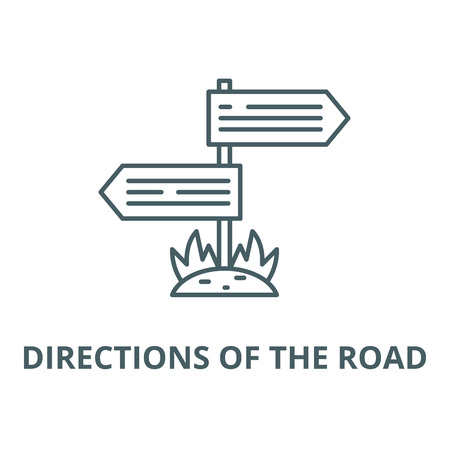 Directions of the road line icon, vector. Directions of the road outline sign, concept symbol, illustration