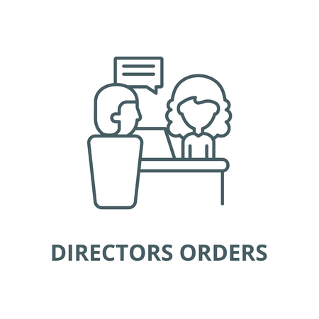 Directors orders line icon, vector. Directors orders outline sign, concept symbol, illustration Illustration