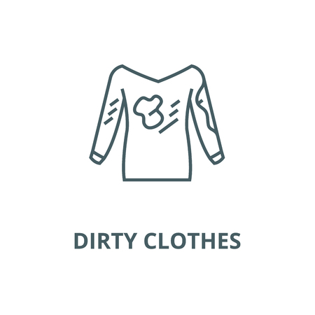 Dirty clothes,hoodie,laundry  line icon, vector. Dirty clothes,hoodie,laundry  outline sign, concept symbol, illustration Illustration
