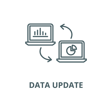Data update line icon, vector. Data update outline sign, concept symbol, illustration  イラスト・ベクター素材