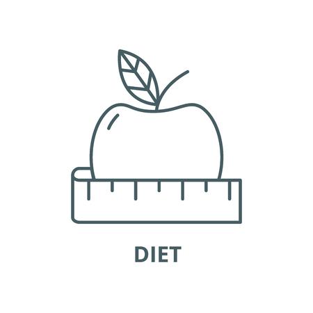 Diet line icon, vector. Diet outline sign, concept symbol, illustration