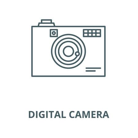 Digital camera line icon, vector. Digital camera outline sign, concept symbol, illustration Illustration