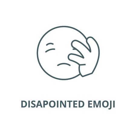 Disapointed emoji line icon, vector. Disapointed emoji outline sign, concept symbol, illustration