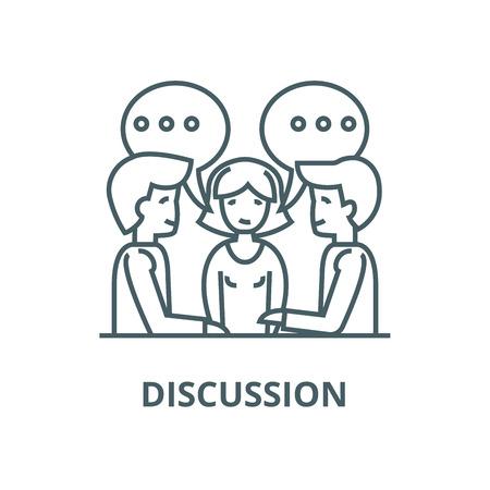 Diskussion, Verhandlung, Vertrag Symbol Leitung, Vektor. Diskussion, Verhandlung, Vertragsentwurfszeichen, Konzeptsymbol, Illustration Vektorgrafik