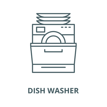 Dish washer line icon, vector. Dish washer outline sign, concept symbol, illustration