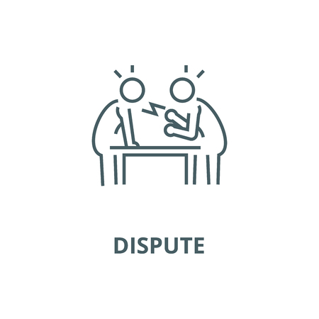Dispute,debate,conversation line icon, vector. Dispute,debate,conversation outline sign, concept symbol, illustration Ilustração