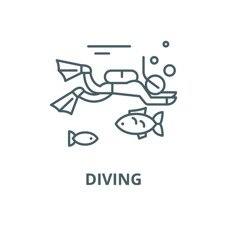 Diving line icon, vector. Diving outline sign, concept symbol, illustration Ilustração