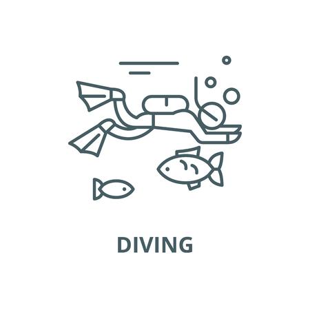 Diving line icon, vector. Diving outline sign, concept symbol, illustration Illustration