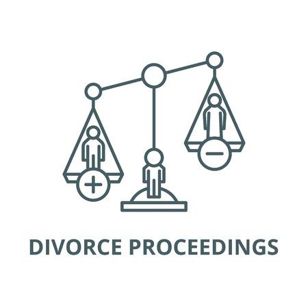 Icona della linea di procedura di divorzio, vettore. Procedimento di divorzio contorno segno, concetto simbolo, illustrazione