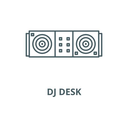 Dj desk line icon, vector. Dj desk outline sign, concept symbol, illustration