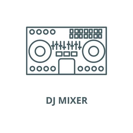 Table de mixage Dj, mixage de musique, fête, icône de ligne techno, vecteur. Table de mixage Dj,mélange de musique,fête,signe de contour techno, symbole de concept, illustration