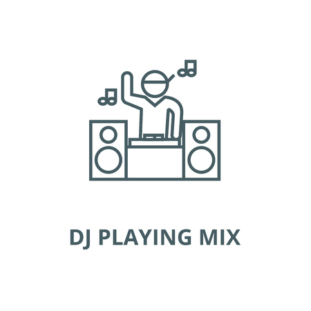 Dj playing mix line icon, vector. Dj playing mix outline sign, concept symbol, illustration