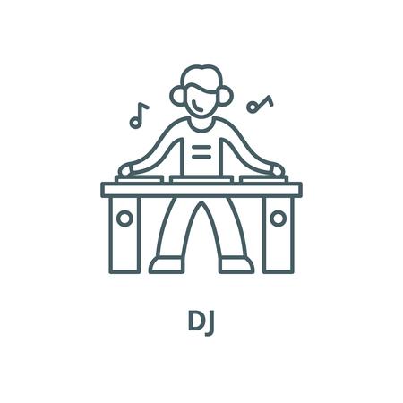 Dj line icon, vector. Dj outline sign, concept symbol, illustration