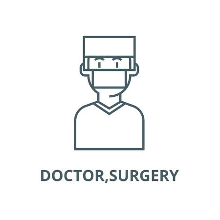 Doctor,surgery line icon, vector. Doctor,surgery outline sign, concept symbol, illustration