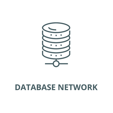 Database network line icon, vector. Database network outline sign, concept symbol, illustration