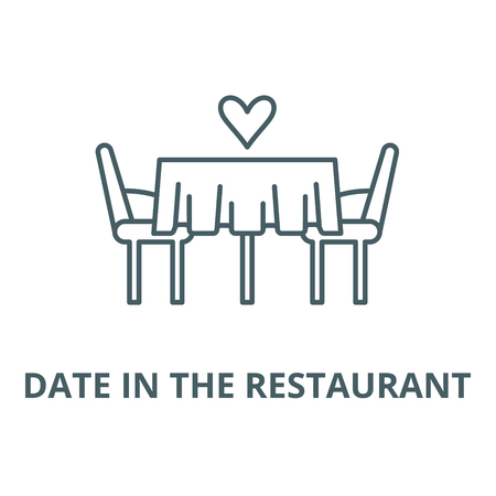 Date in the restaurant line icon, vector. Date in the restaurant outline sign, concept symbol, illustration