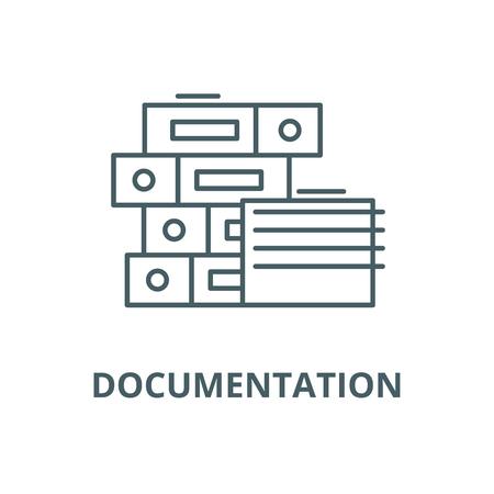 Icona della linea di documentazione, vettore. Segno di contorno della documentazione, simbolo di concetto, illustrazione Vettoriali