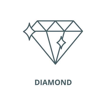 Icona della linea di diamante, vettore. Segno di contorno del diamante, simbolo di concetto, illustrazione