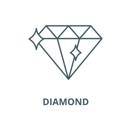 Ikona linii diamentu, wektor. Znak konturu diamentu, symbol koncepcji, ilustracja