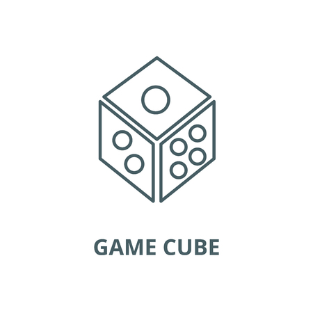 Dice,game cube line icon, vector. Dice,game cube outline sign, concept symbol, illustration