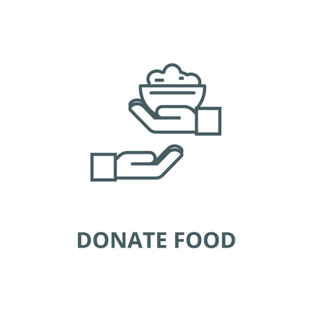 Donate food line icon, vector. Donate food outline sign, concept symbol, illustration