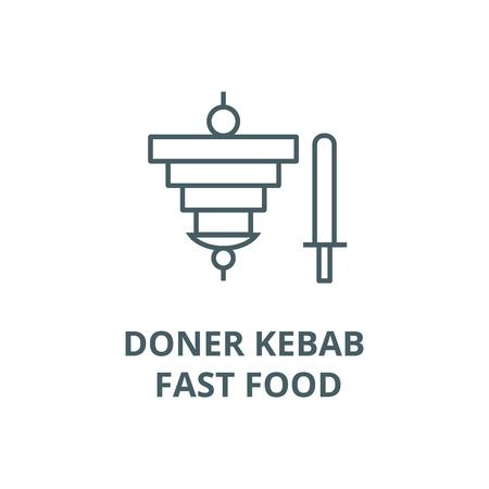 Doner kebab, fast food line icon, vector. Doner kebab, fast food outline sign, concept symbol, illustration Stock Illustratie