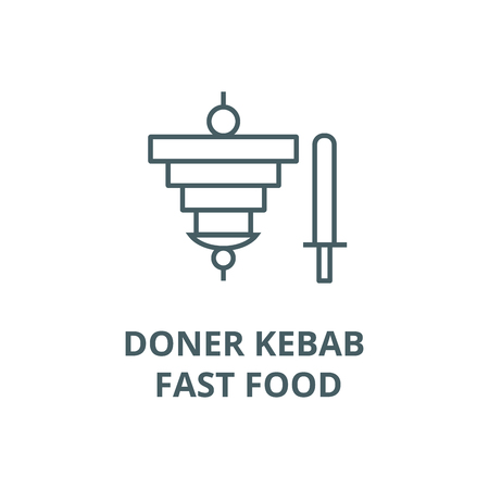 Doner kebab, fast food line icon, vector. Doner kebab, fast food outline sign, concept symbol, illustration Illustration