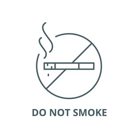 Do not smoke line icon, vector. Do not smoke outline sign, concept symbol, illustration Stock Illustratie