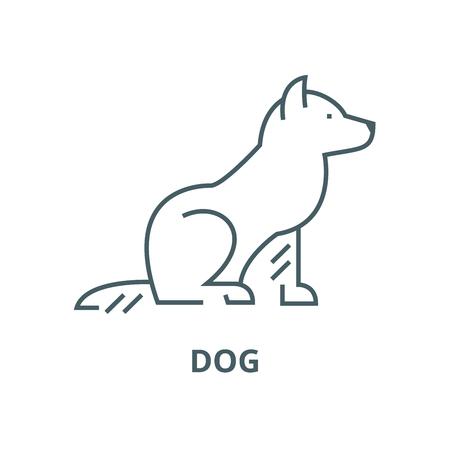 Dog line icon, vector. Dog outline sign, concept symbol, illustration Banque d'images - 123716085