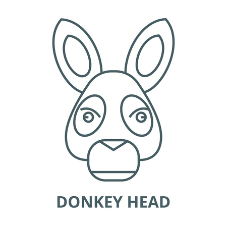 Donkey head line icon, vector. Donkey head outline sign, concept symbol, illustration
