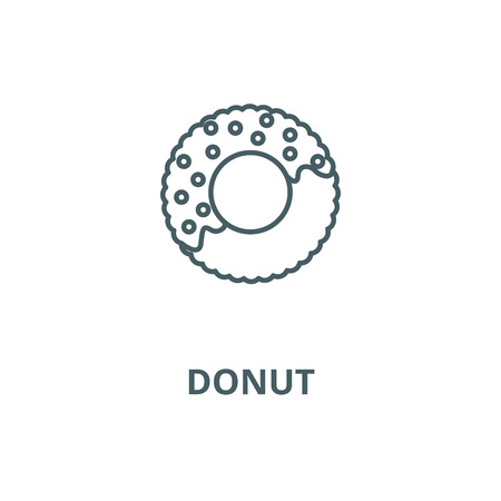 Donut line icon, vector. Donut outline sign, concept symbol, illustration Stock Illustratie